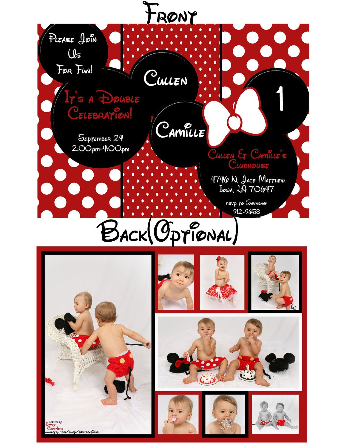 Minnie Mouse or Mickey Mouse Custom Digital Birthday Party – Mickey and Minnie Party Invitations