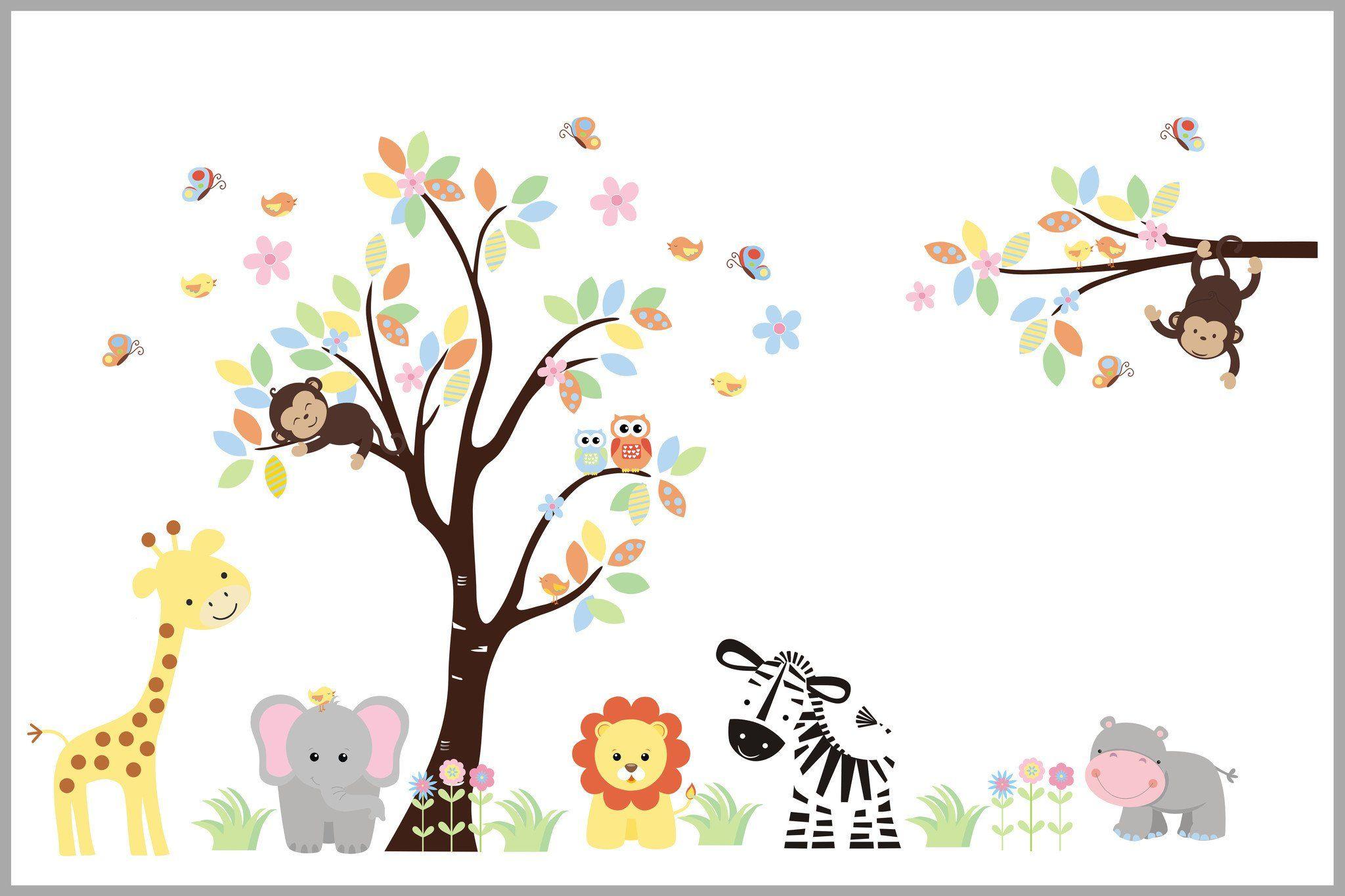 perfectly pastel jungle nursery wall decals safari themed wall