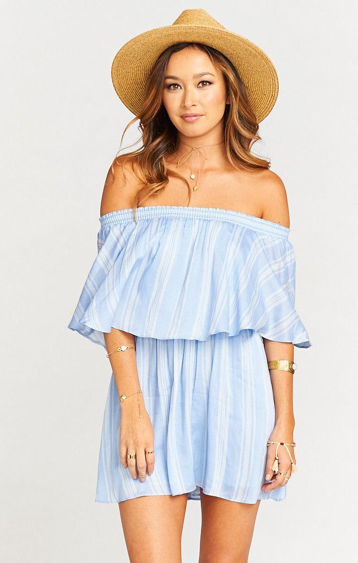 c03e439422e off the shoulder dress - Casita Mini Dress ~ Sidewalk Stripe Periwinkle  Challis
