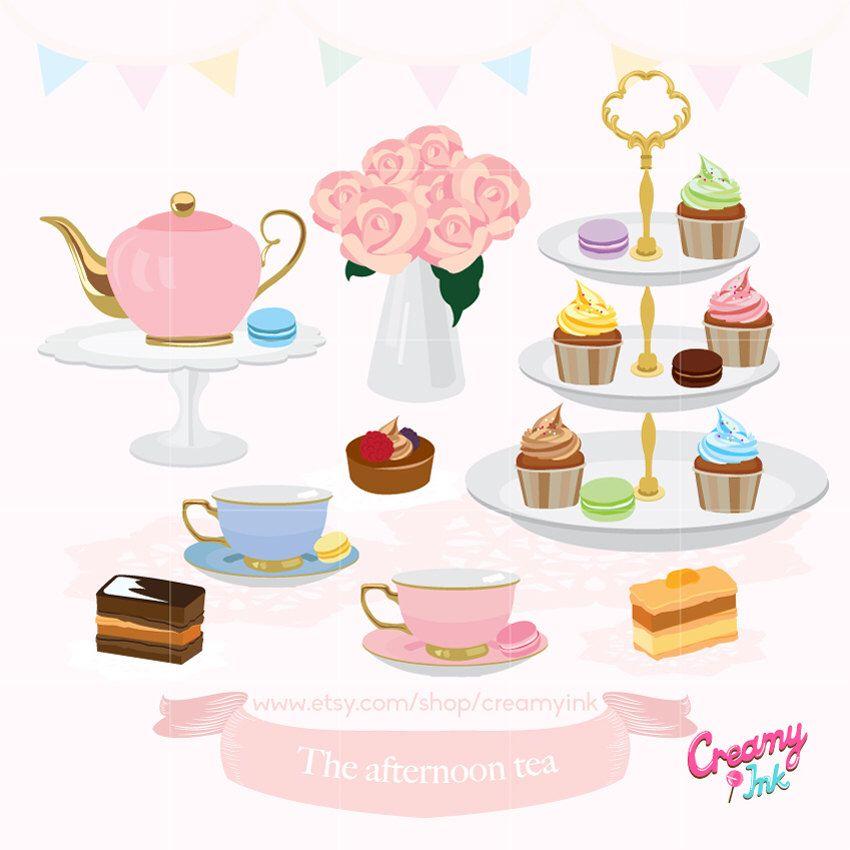 Afternoon Tea Party Digital Clip Art English High Tea Digital Clipart Design Illustration Macaroon Tea Illustration Tea Time Illustration Autumn Tea Party