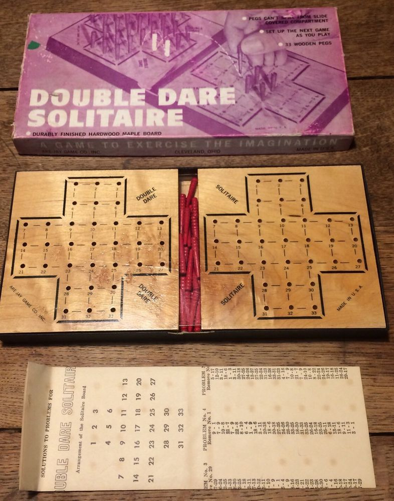 Solitaire Pegs Double Dare Wood Board Game USA Cleveland