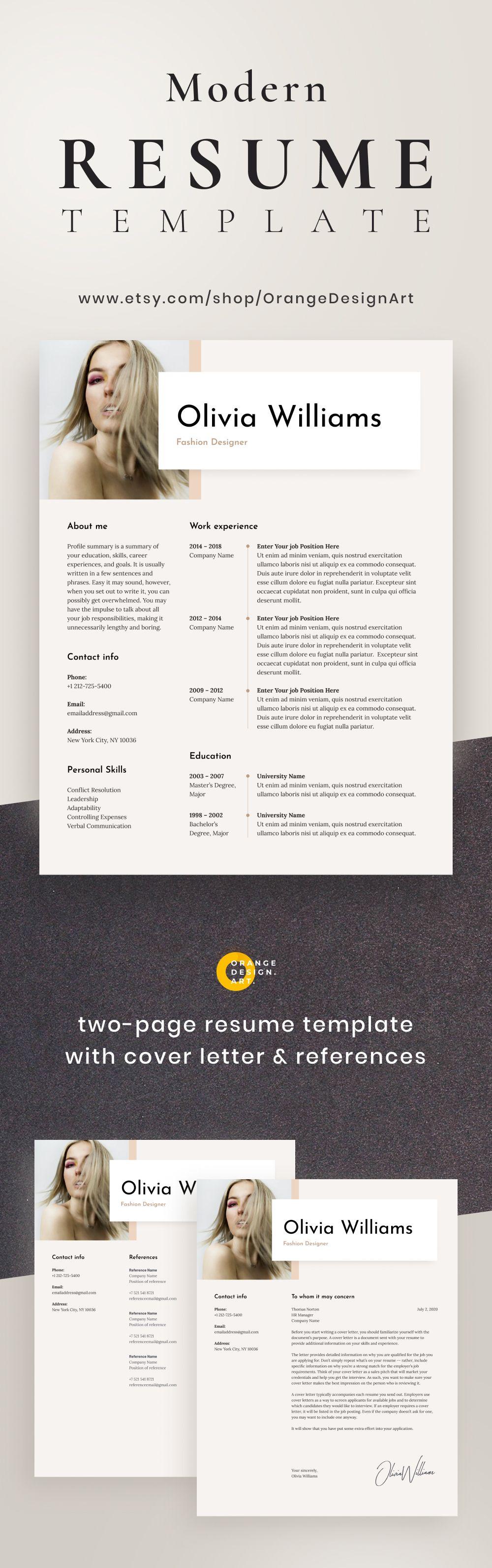 Modern Cv Template For Word Fashion Designer Cv Template With Etsy Modern Cv Template Cv Template Resume Design