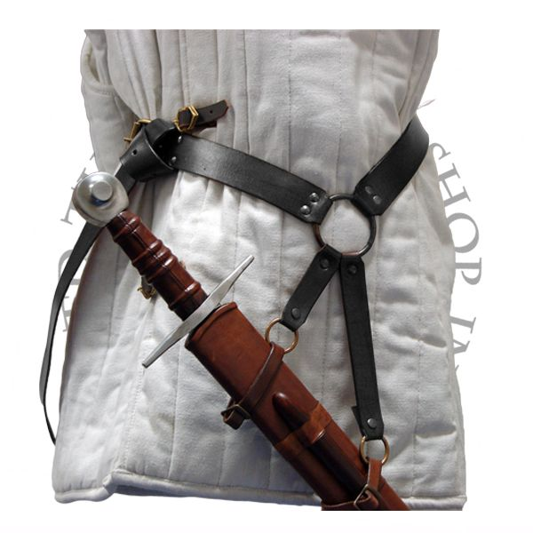 Medieval Double Wrap Leather Sword Belt in Black for Costume and Re-enactment
