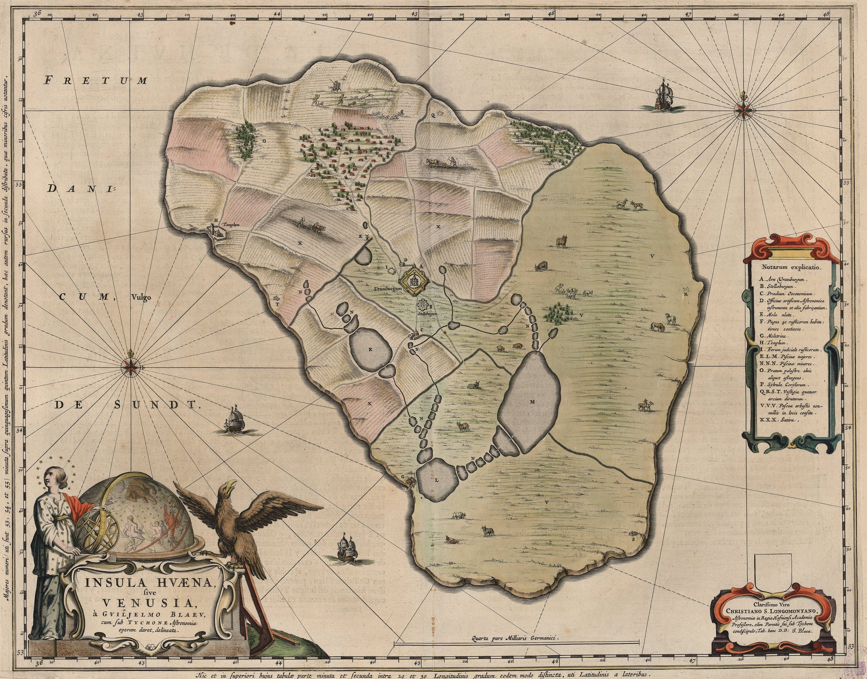 Map Of Hven From Copper Etching Of Blaeu Atlas 1663 Tycho Brahe
