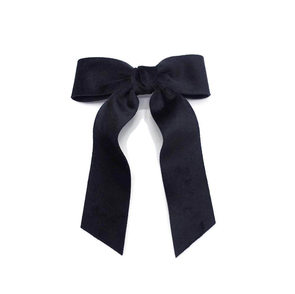 Velvet Fabric Hair Bow With Tail Double Faced Velvet Basic Etsy Velvet Hair Hair Accessories For Women Black Hair Bows