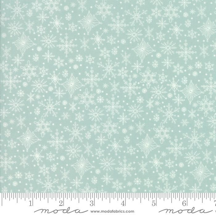 Price is per 1/2 yard. Style Number: 13344 14Fabric Name: Snowflakes, AlpineManufacturer: Moda FabricsCollection: Tahoe Ski Week100% Cotton 44-45