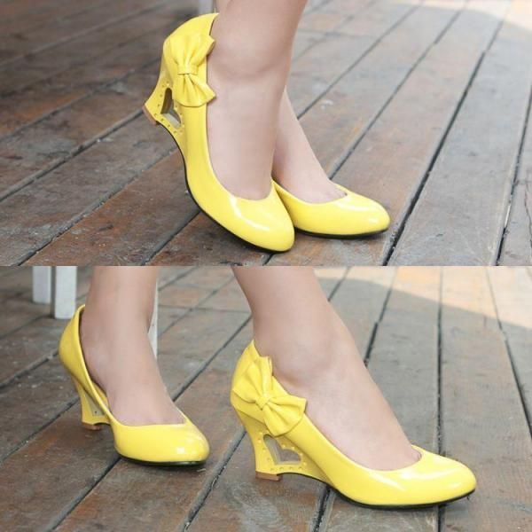 Sexy Yellow Color Women Pumps Slip on Thin High Heels