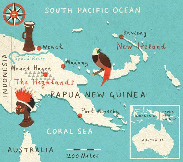 Papua New Guinea Illustration Map | Pacific | Guinea map