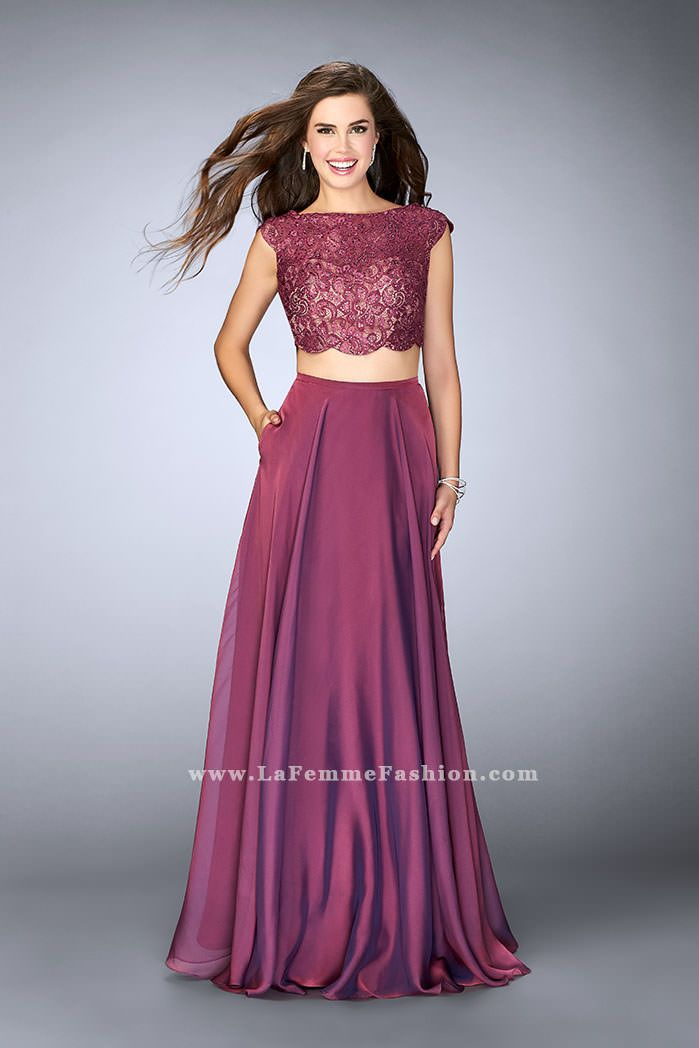 La Femme Prom style 23922. Color Boysenberry, lace top with chiffon ...