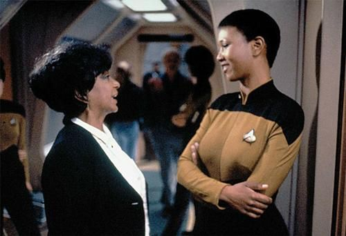 """Dr. Mae Jemison. The first African-American woman to fly to space and the only real astronaut to appear on an episode of Star Trek. Nichelle Nichols visited the production when Jemison was filming her scenes. Star Trek: The Next Generation """"Second Chances""""  Stardate:  46915.2"""