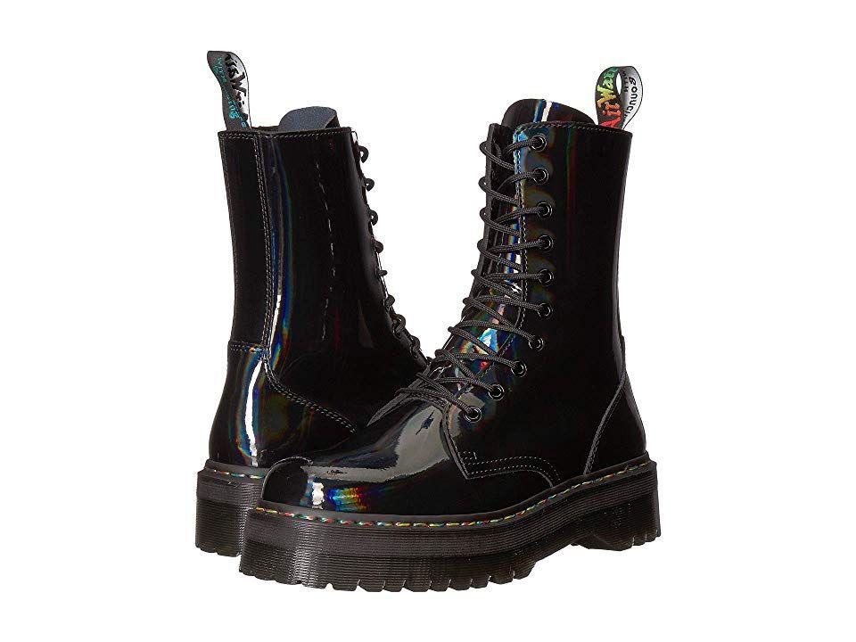 Dr Martens Jadon Hi Rainbow Patent Boots Black Doc Martens