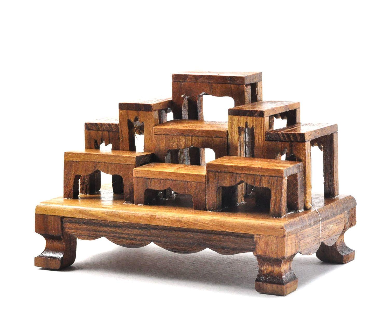 Set Of 9 Mini Altar Teak Wood Tables Worship Thai Buddha Buddhist Amulet Mini Mini Altar Wood Table Teak Wood
