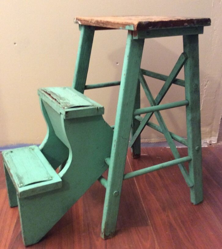 Vintage Aqua Primitive 3 Step Stool Ladder