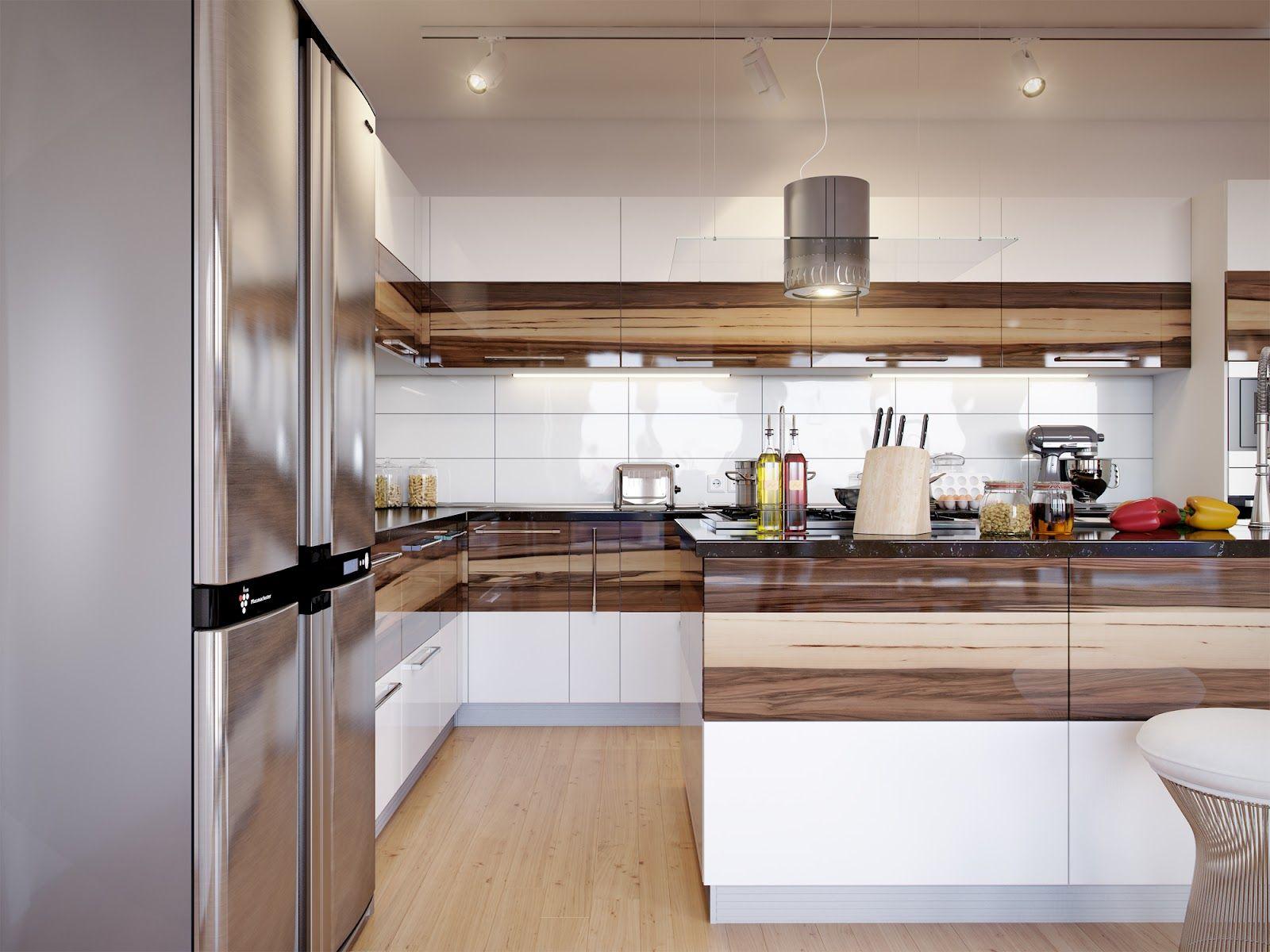 Home Walnut Cabinets White Gloss Kitchen Decor
