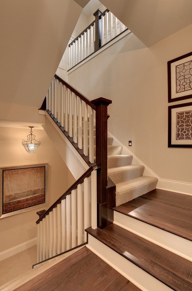 Best White Banister Staircase Traditional With Landing White 400 x 300