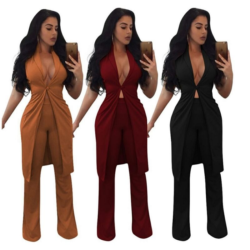 e024b1e207c 2017 Autumn Winter Formal Overalls Long Vest Two Piece Set Women Pants  Suits Sexy Casual Outfits Elegant Work Wear Office Lady