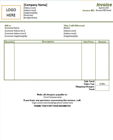 Basic Purchase Invoice with Space for Logo Invoice Templates - cheque received receipt format