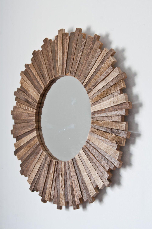 Sunburst Mirror 21 X21 X1 Reclaimed Wood 170 00 Via Etsy