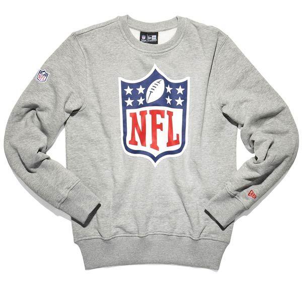 new era NFL SHIELD CREWNECK heather grey | Buyersclub 2 ...