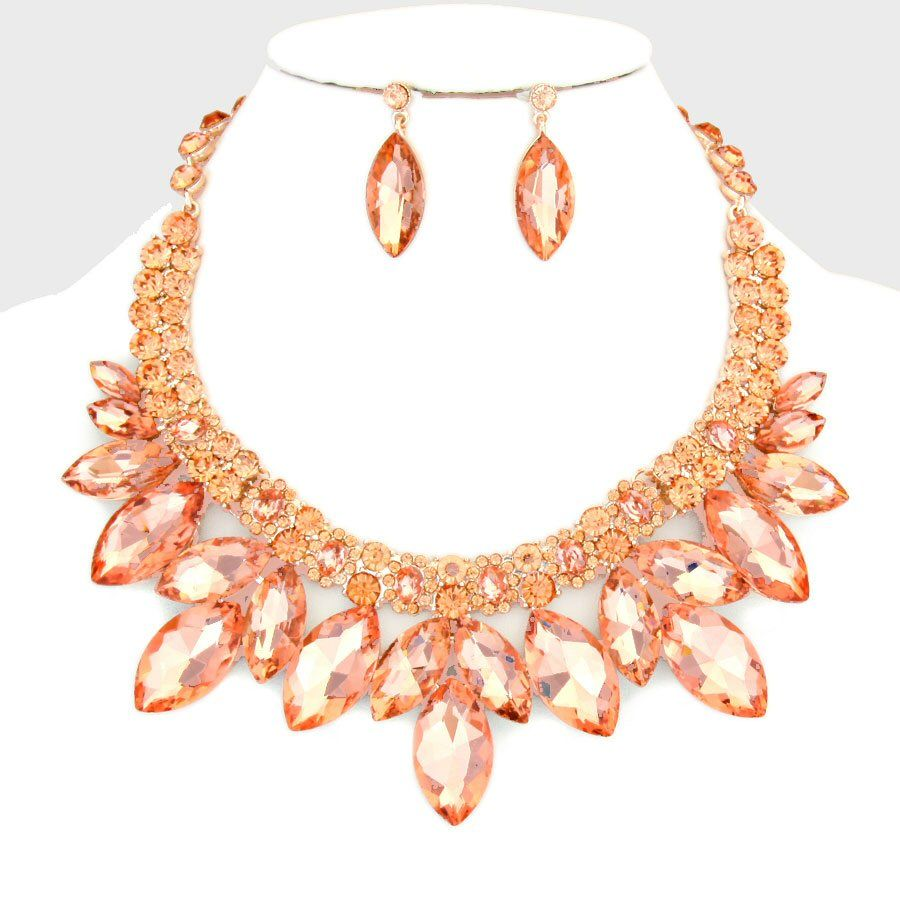 Peach Rose Gold Crystal Rhinestone Formal Wedding Bridal Prom Party Pageant Bridesmaid Evening Utopian Glass Flower Petal Necklace Earrings Set Elegant Costume Jewelry