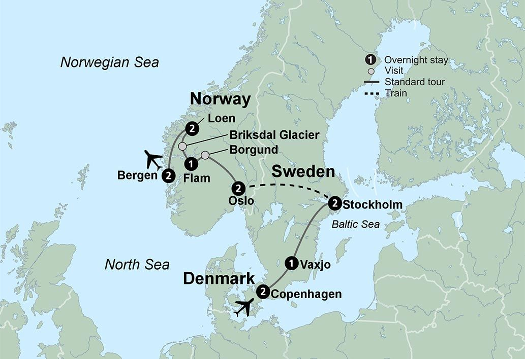 Map of tour route Travel