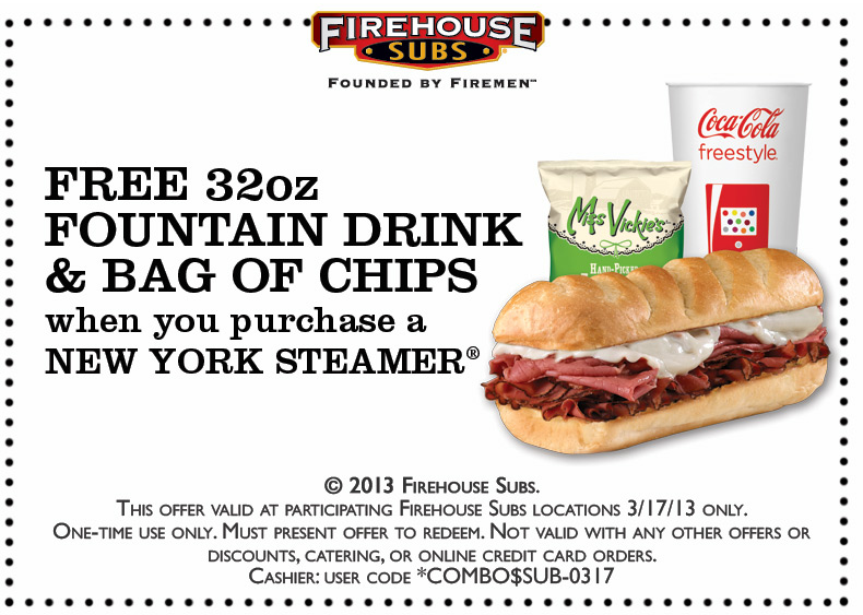 photograph relating to Firehouse Subs Coupon Printable identify 32oz consume chips no cost with your steamer at Firehouse Subs