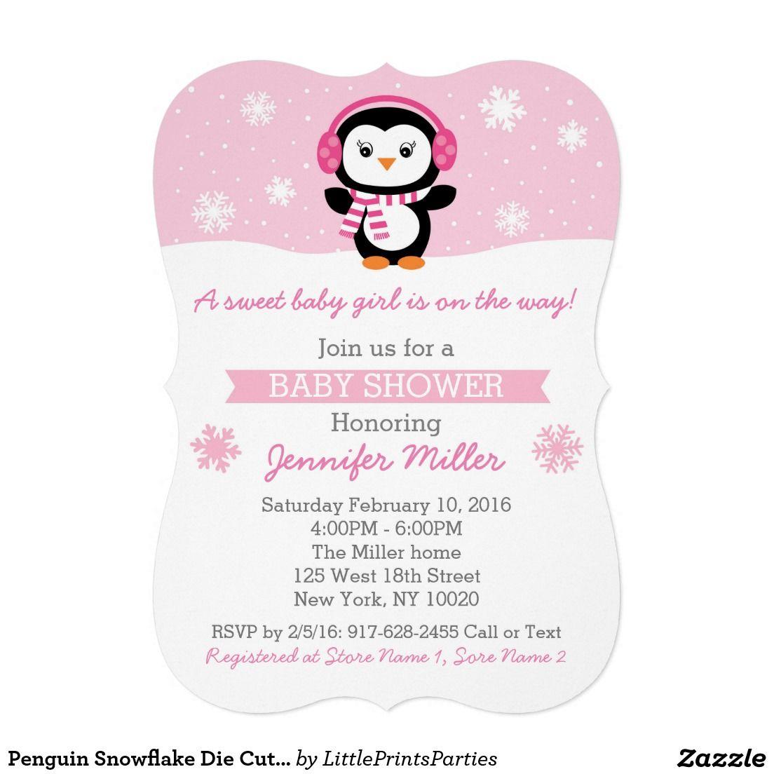 Penguin Snowflake Die Cut Baby Shower Invitations | Baby Shower ...