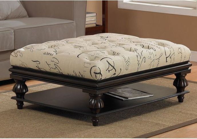 Ottoman Coffee Table Fabric Clear Rectangle Shape Gl And Stainless Steel Contemporary Modern Designer