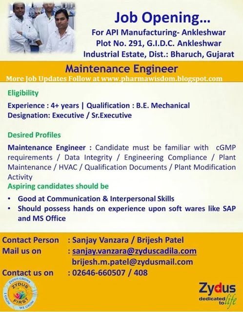 Pharma Wisdom Job Openings For Maintenance Engineer  Zydus Cadi