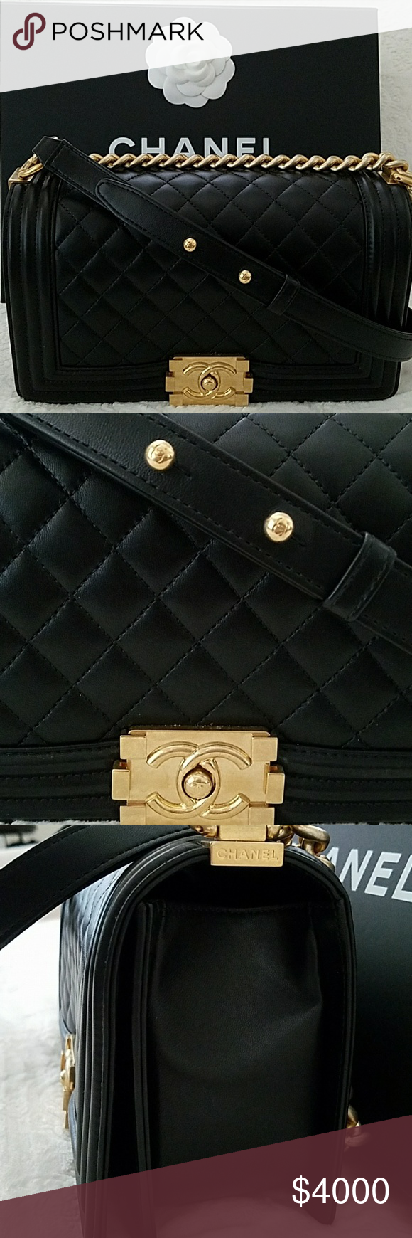 Authentic Black Chanel Old Medium Boy Bag Gold Hw Bought In Paris Mint Condition Only