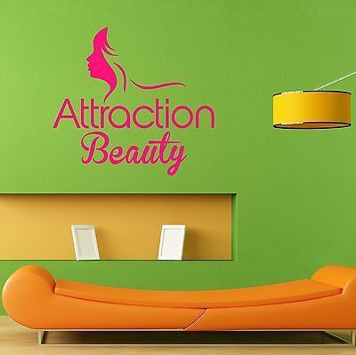 Attraction Beauty Hair Nail Spa Salon Logo Wall Decal Sticker Mural Decal L035
