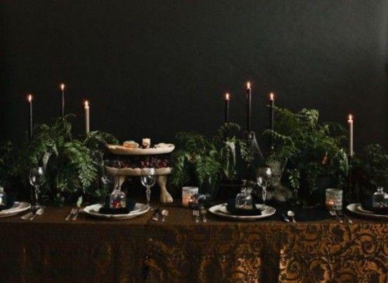 35 Amazing Vintage Halloween Décor Ideas : Vintage Halloween Décor Ideas With Black Wall And Wooden Table And Candlesticks