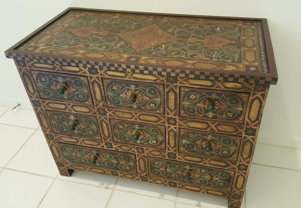 Solid Wood 8 Drawer Hand Painted Moroccan Chest Small Dresser Estate Find