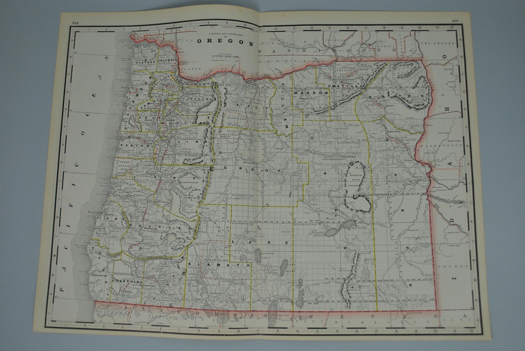 A Native American Map%0A Oregon Railroad and County Native American Reservations Antique Map