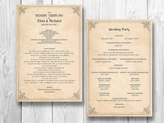 Retro Wedding Program Order Of Service Ceremony Reception Vintage Manifesto 20 00 Via Etsy