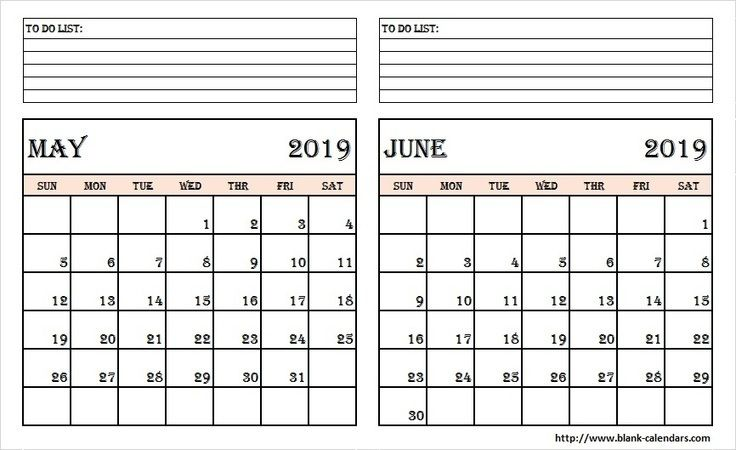 Free May June 2019 Calendar With Holidays Notes Printable Template