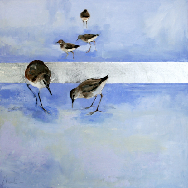 """""""Tension"""" by Ellen Welch Granter. Oil and Gold Leaf on Panel, 20""""x20"""". Available at www.maine-art.com."""
