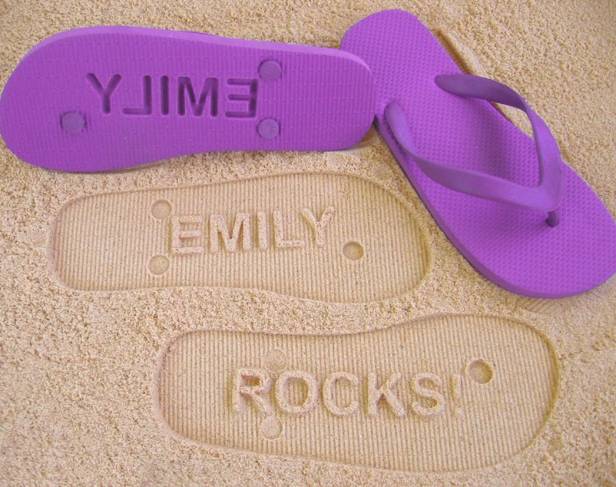 cb3c96d7914d12 These personalised thongs that create imprints in sand and soft soil would  make a fun gift. Made to order using natural foam rubber thongs with rubber  ...
