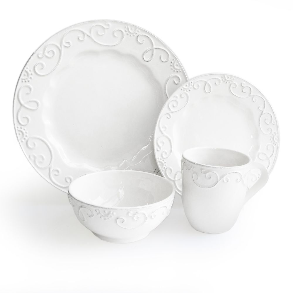 This dinnerware set from American Atelier has enough pieces to serve four diners. This elegant white dinnerware set is made of earthenware so it can safely ...  sc 1 st  Pinterest & American Atelier White 16-piece Dinnerware Set | Overstock.com ...