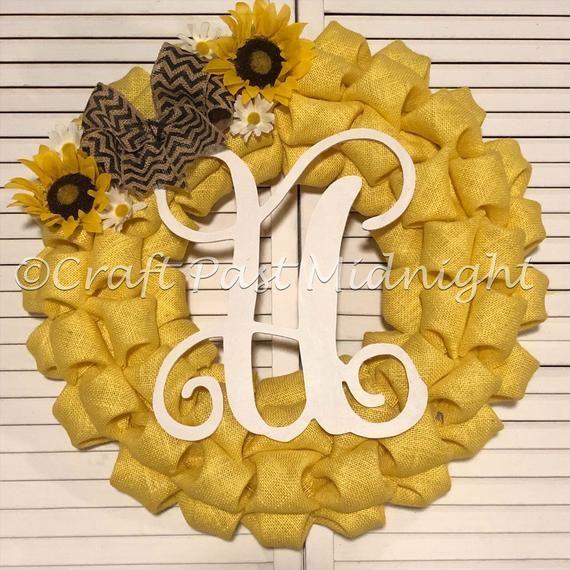 Photo of Sunflower Wreath – Yellow Burlap Sunflower Wreath – Fall Sunflower Wreath – Sunflower Monogram Wreat
