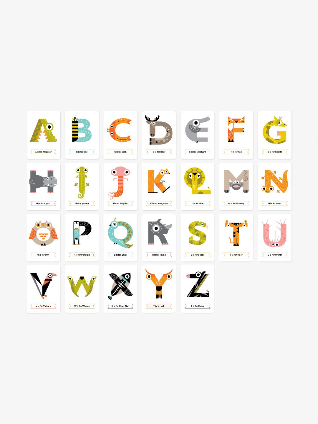 Animal Alphabet Flash Cards Color Alphabet Flashcards Lettering Alphabet Animal Alphabet Letters