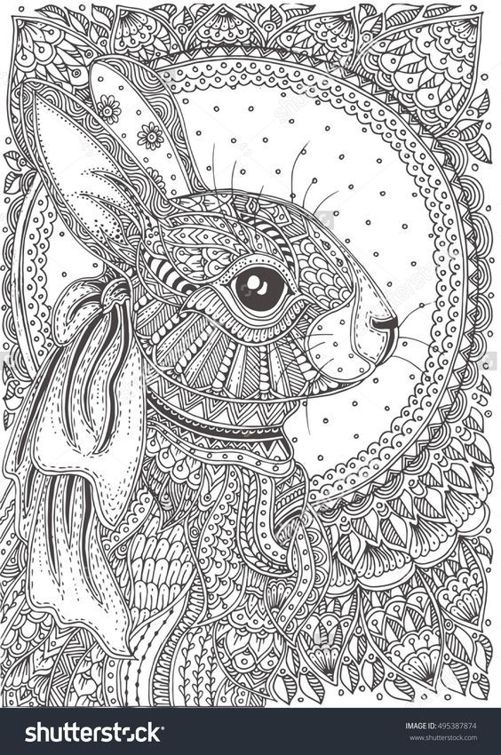 Rabbit zentangle Bunny coloring pages, Animal coloring