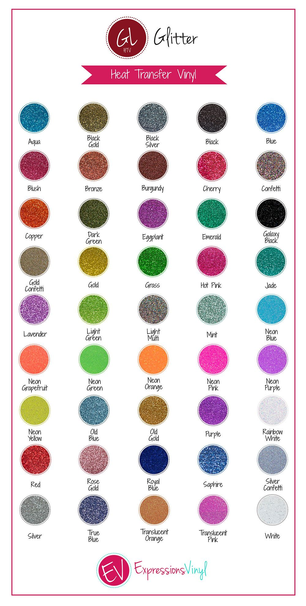 Glitter Heat Transfer Vinyl Color Chart Expressions Vinyl Glitter Heat Transfer Vinyl Cricut Vinyl