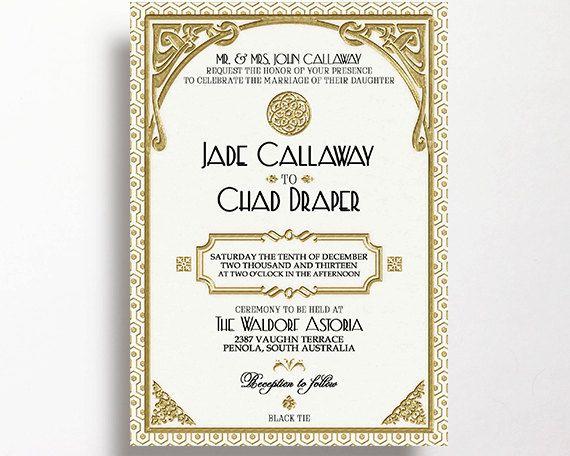 gatsby wedding invitation printable white by westminsterpaperco - Gatsby Wedding Invitations