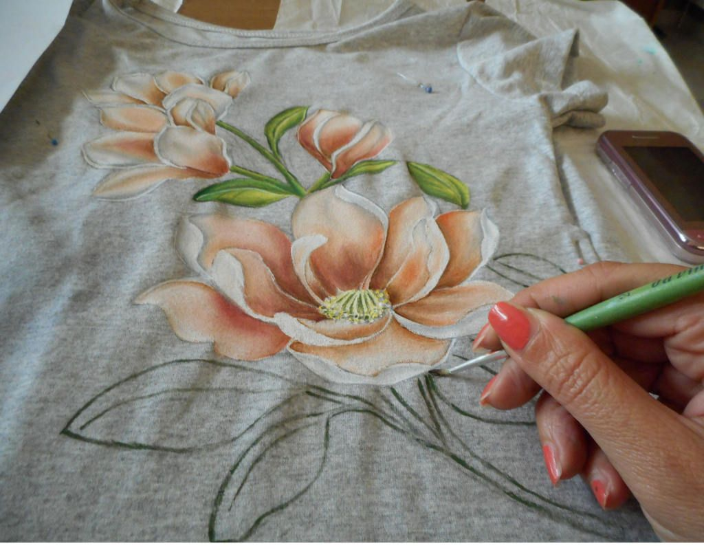 Pittura Su Vetro Tutorial Painting Tutorial On T Shirt How To Paint Magnolia Flowers How