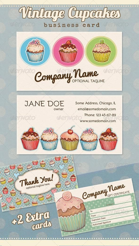 Vintage Cupcake Business Thank You Gift Card Businesscard