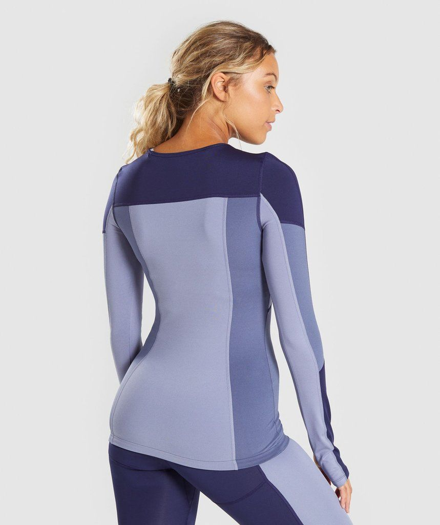 249a5c7ca4f4 Gymshark Illusion Long Sleeve Top - Evening Navy Blue/Steel Blue/Night  Shadow Blue 2