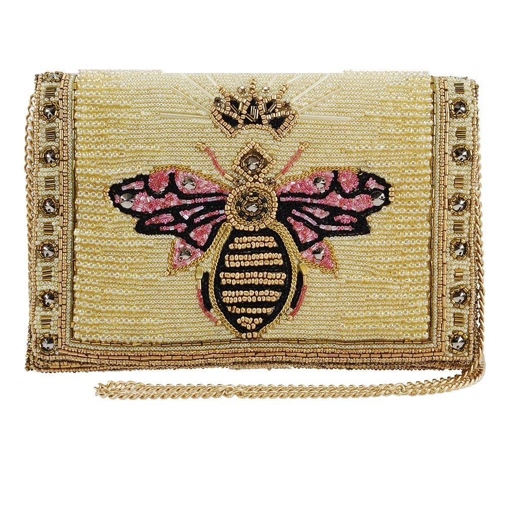Buzzed Beaded Embroidered Queen Bee Crossbody Clutch By Handbag Designer Mary Frances Leatherhandbagsandpurses