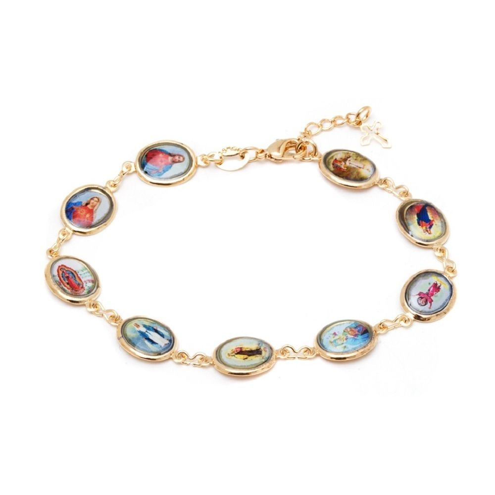 Goldplated multicolor virgin mary and jesus round link bracelet