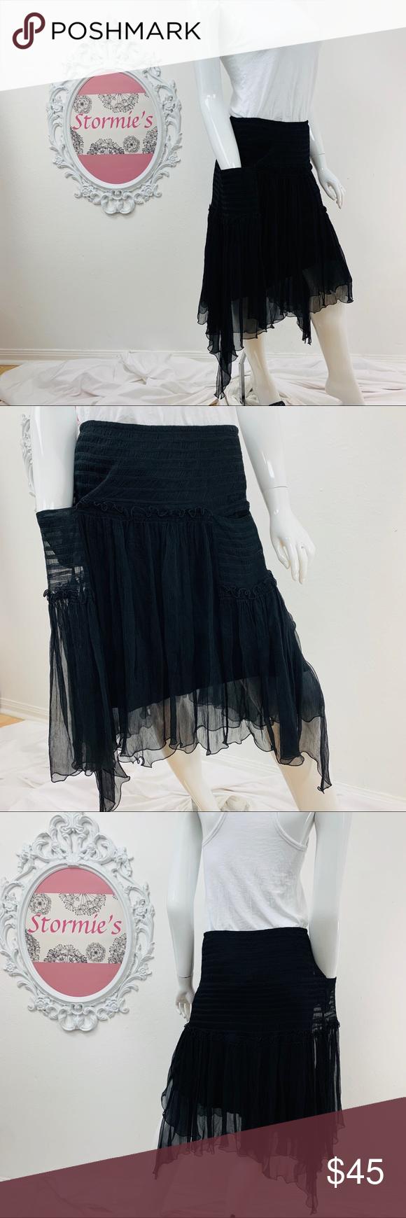 Max Studio Special / Asymmetric Black Silk Skirt Asymmetric Black Skirt. Fully Lined with ruffles. Front Pockets. Left side Zip. Layered ruffle detail. 100% SILK  Waist 14.5 Liner Length 24.5in. Skirt Length 26in.            ➡️Bundle to Save!!! #054 Max Studio Skirts Asymmetrical
